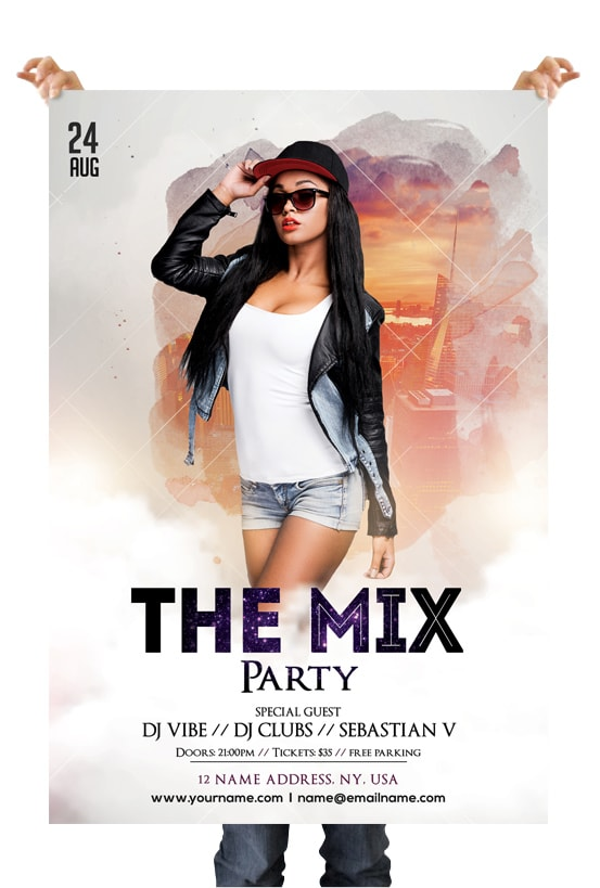 The Mix Free White Party PSD Flyer Template