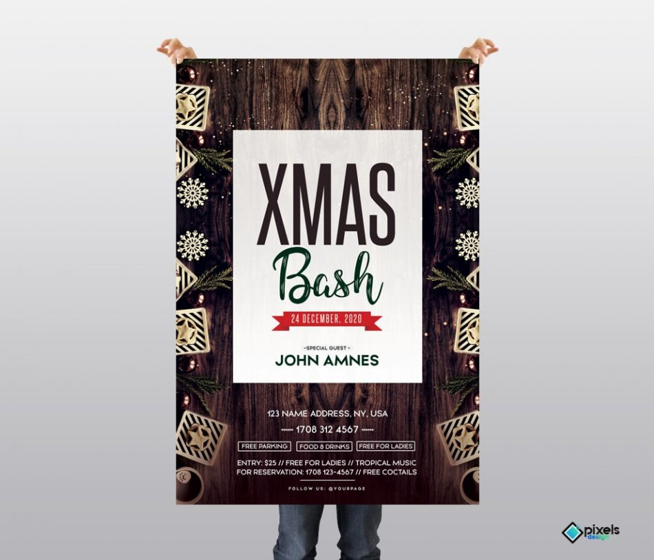 X-Mas Bash Free PSD Flyer Template