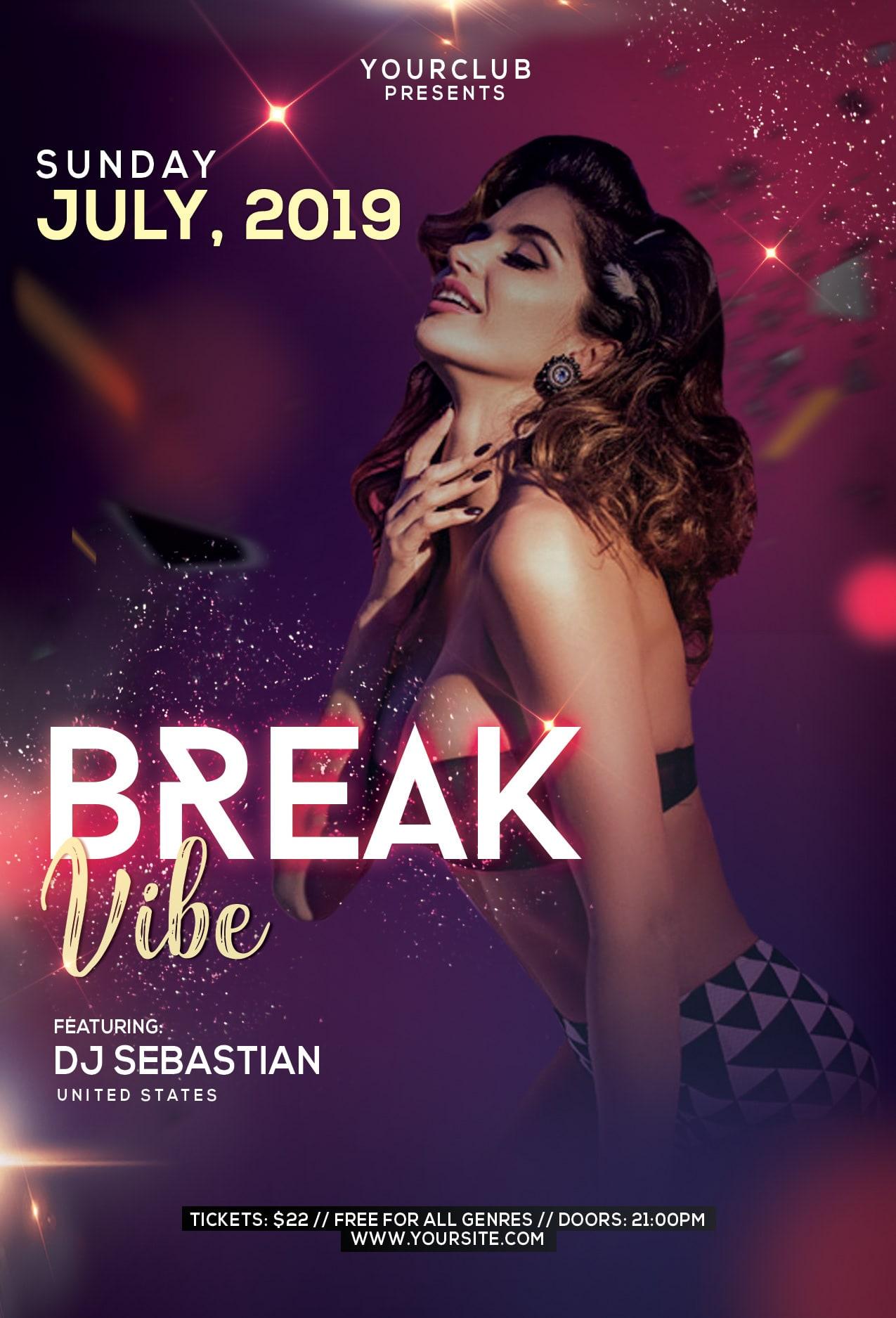 Break Vibe Free PSD Flyer Template