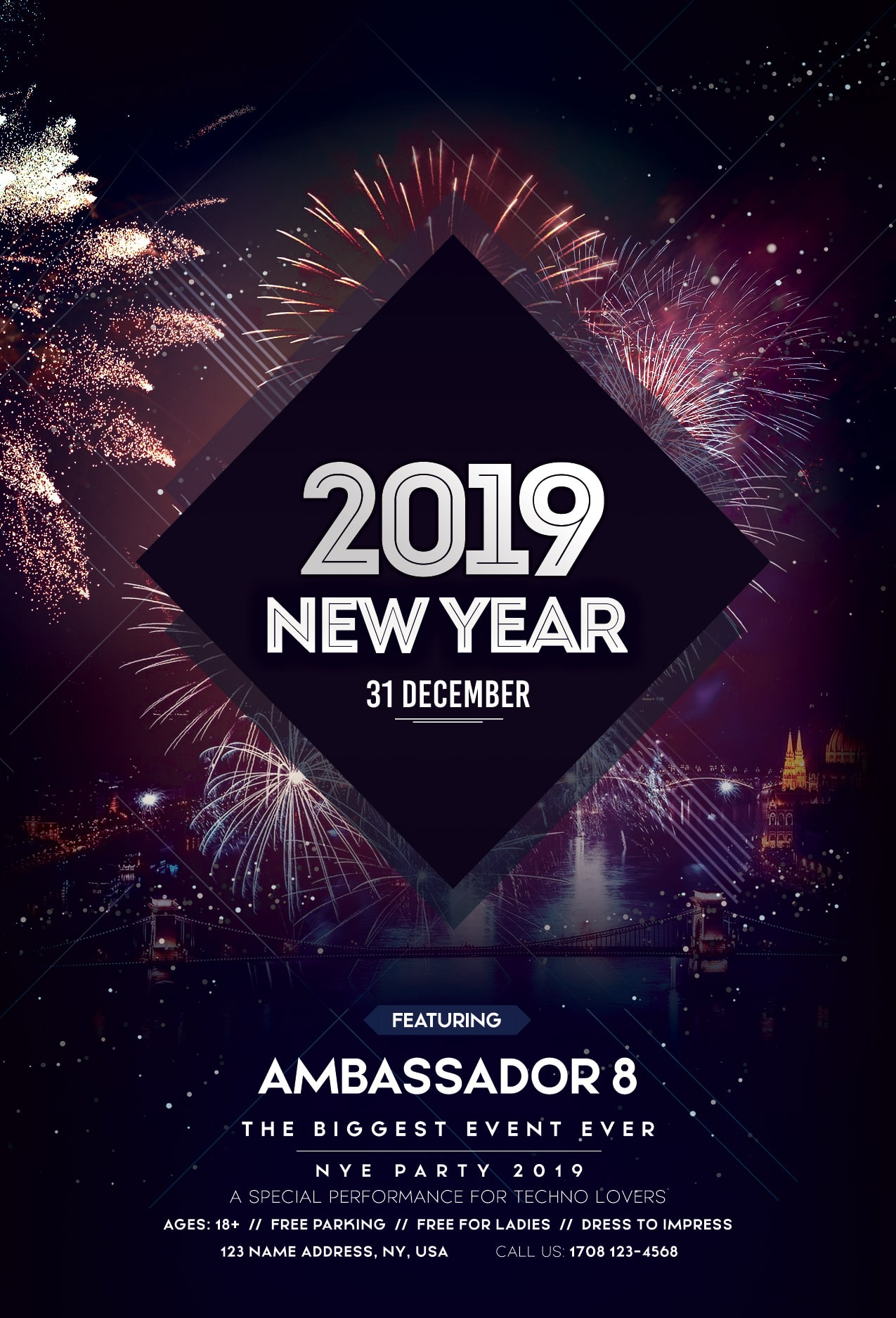 Happy New Year 2019 #2 Free PSD Flyer Template