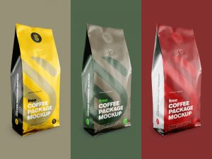 Aluminium Coffee Standing Pouch Free Mockup