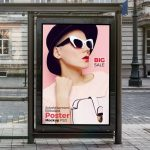 Bus Shelter Vertical Billboard Free PSD Mockup
