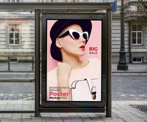 Bus Shelter Vertical Billboard Free Mockup