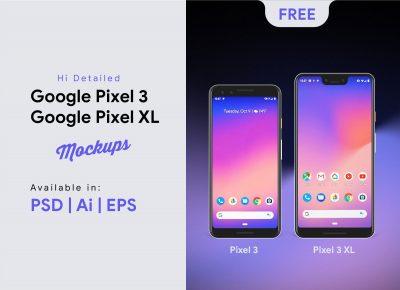 Pixel 3 & Pixel 3XL Free PSD Mockup