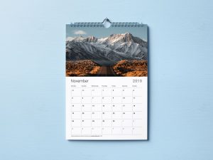 Premium Wall 2019 Calendar – Free PSD Mockup