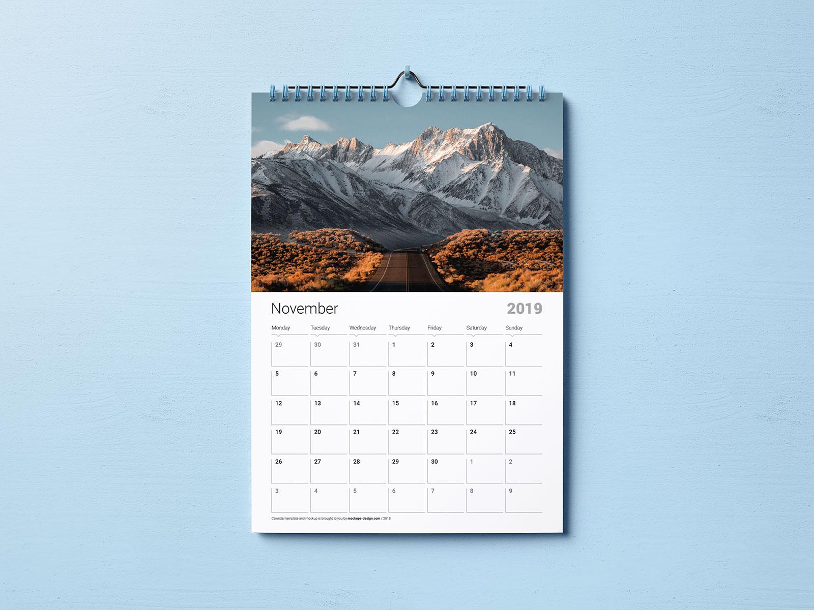 Premium Wall 2019 Calendar Free PSD Mockup