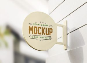 Wall Mounted Round Sign – Free PSD Mockup
