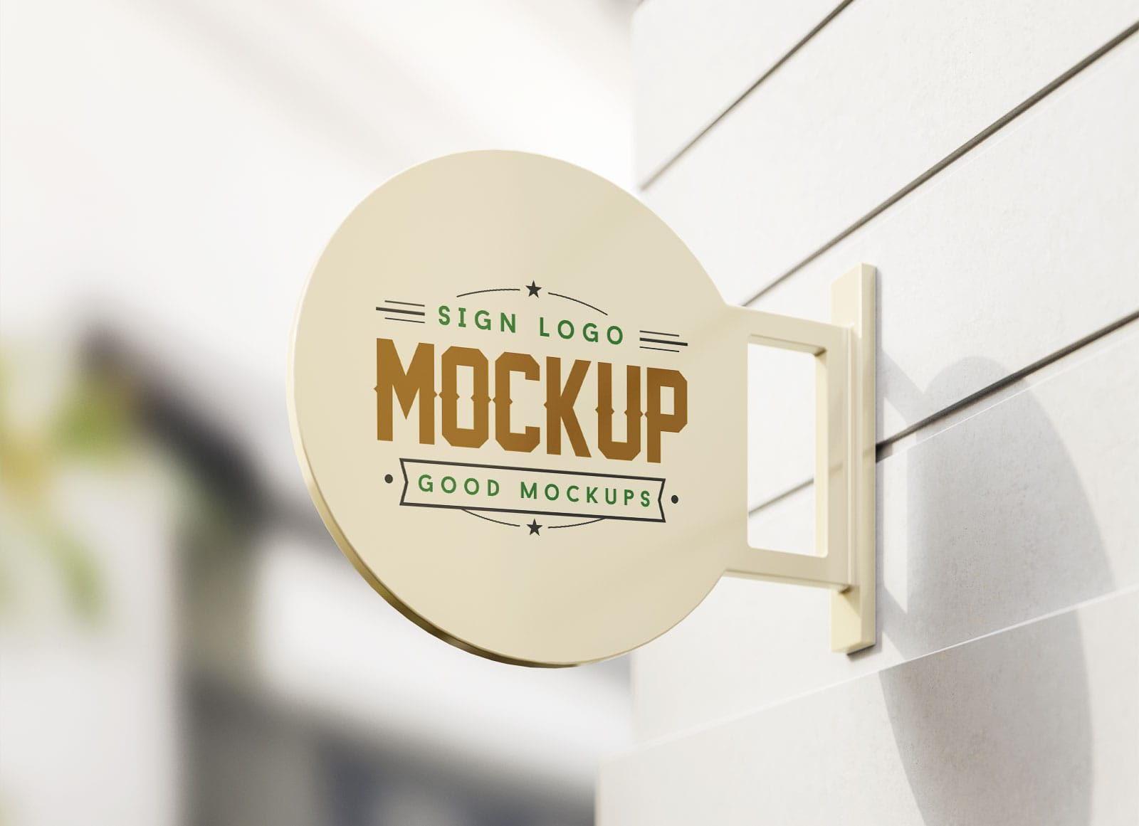 Wall Mounted Round Sign Free PSD Mockup