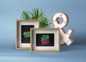 Wood Frame Presentation – Free PSD Mockup