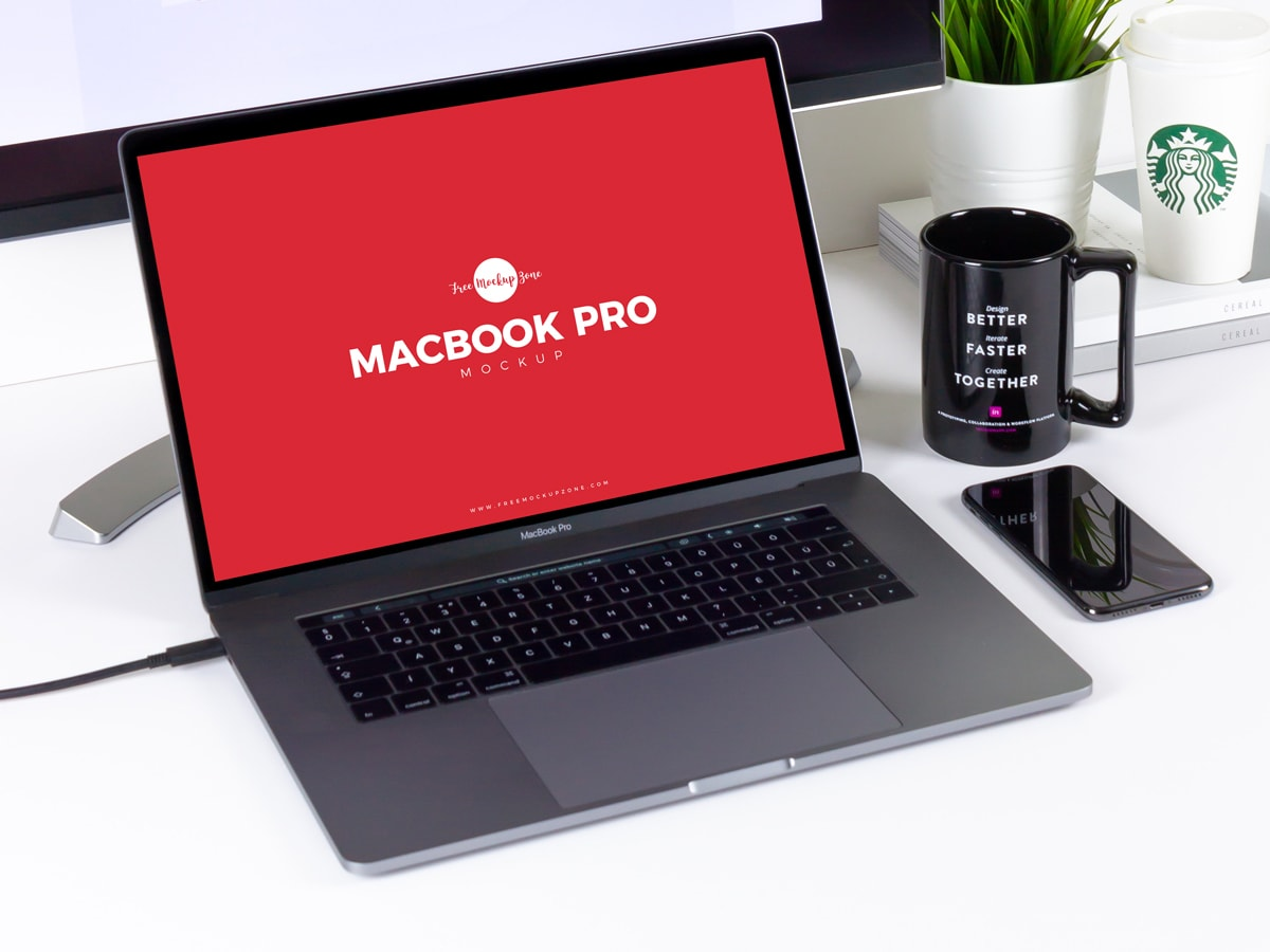 Workstation MacBook Pro Free PSD Mockup