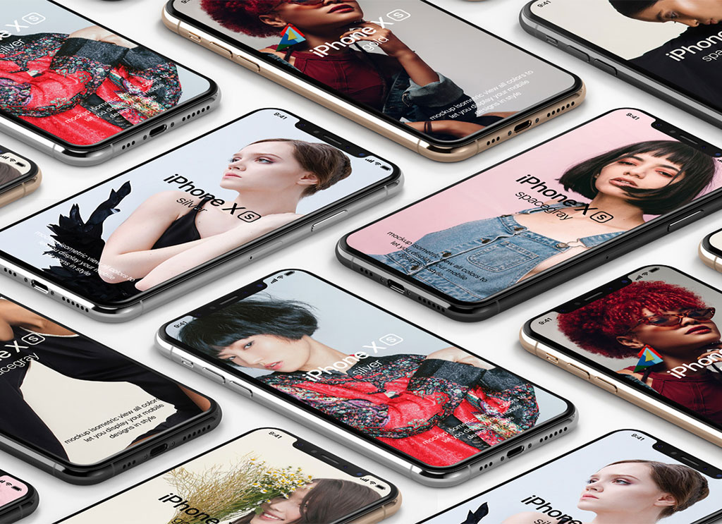 iPhone XS Isometric Free PSD Mockup