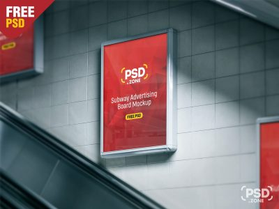 Subway Advertising Board Free PSD Mockup