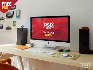 iMac Workstation Free PSD Mockup