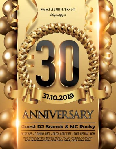 30th Anniversary Free PSD Flyer Template