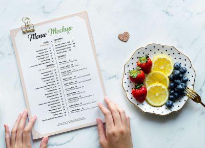 A4 Restaurant Flyer Menu Free PSD Mockup