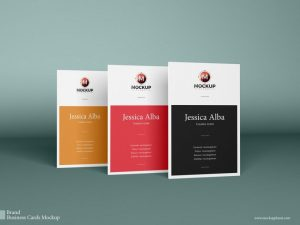 Free Vertical Business Cards Mock-up