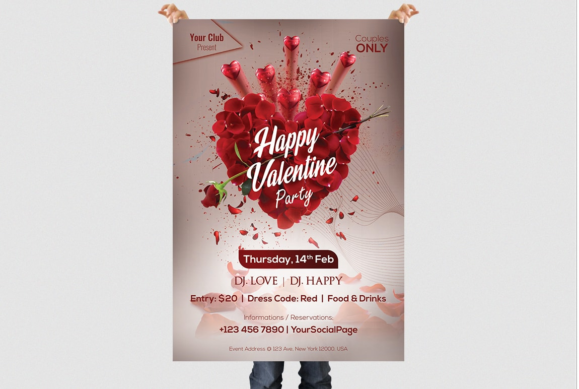 Valentine Party 2019 PSD Flyer Template
