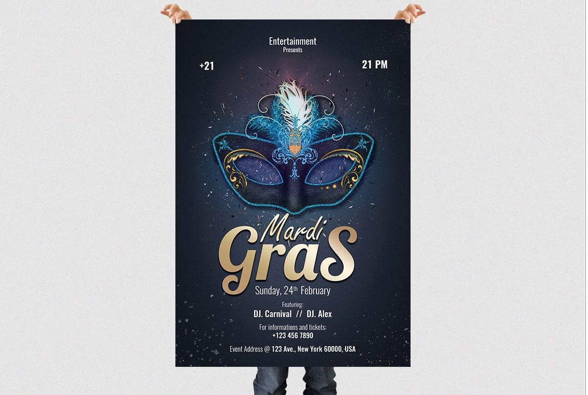 Mardi Gras 2019 PSD Flyer Template