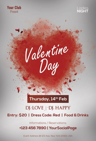 Valentine Day Free PSD Flyer Template