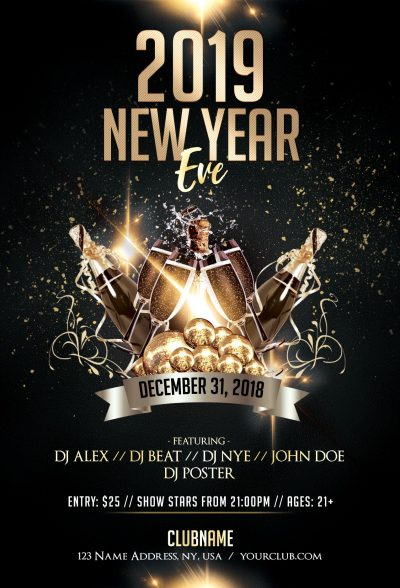 2019 New Year Eve #2 Luxury Free PSD Flyer Template
