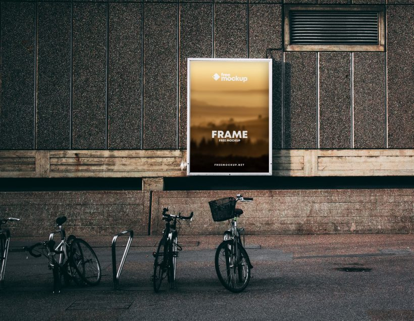 Realistic Poster Frame in Street Free Mockup