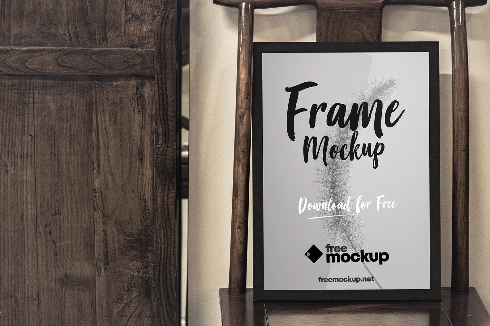 Poster Frame in Wood Scene Free PSD Mockup