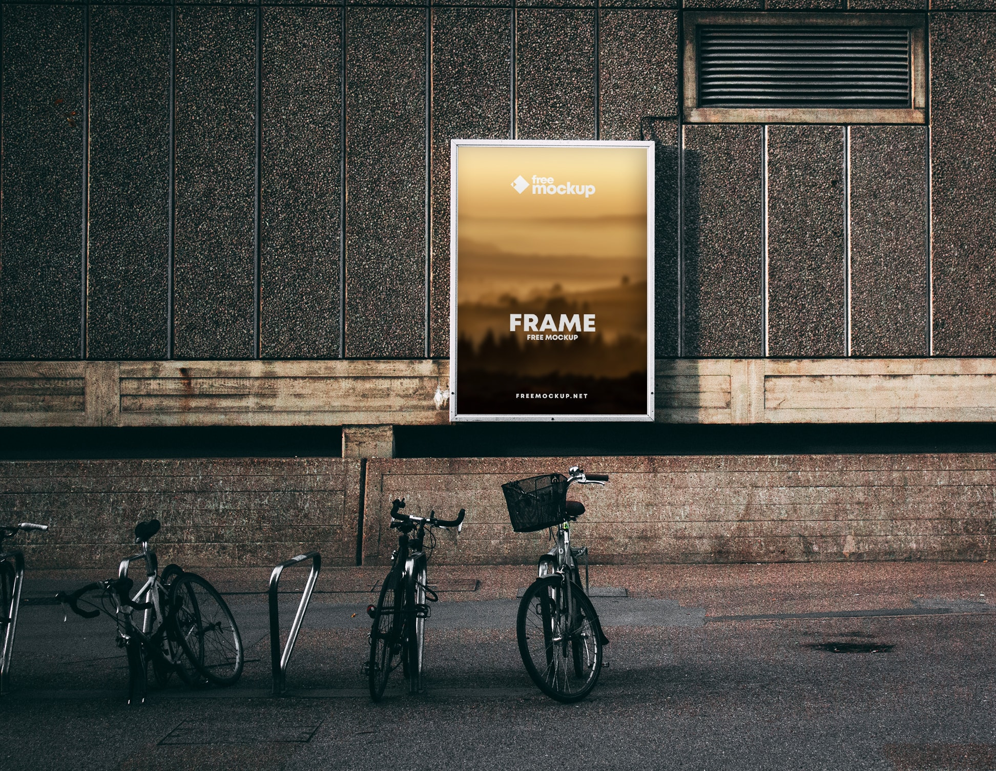 Poster Frame in Street with Bikes Free PSD Mockup