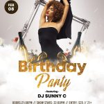 Birthday Party White & Gold Free PSD Flyer Template