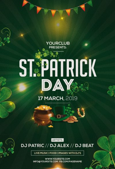 St. Patrick Party Free PSD Flyer Template
