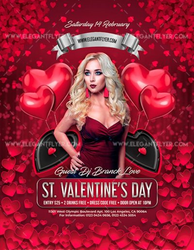 St Valentines Day Free PSD Flyer Template