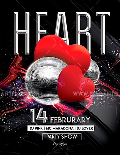 Heart Party Free PSD Flyer Template