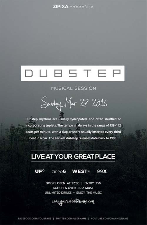 Dubstep Party Free PSD Flyer Template
