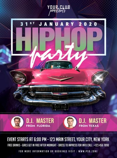 Hiphop Night Party Free PSD Flyer Template