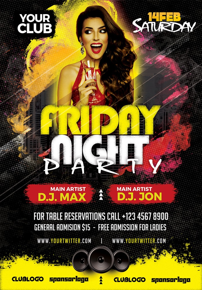 Friday Night Party Free PSD Flyer Template