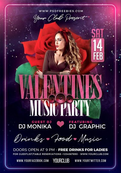 Valentine Day Music Party Free PSD Flyer Template