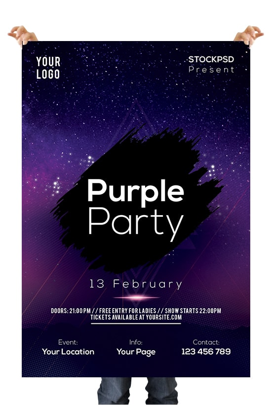 Purple Party Club Free PSD Flyer Template
