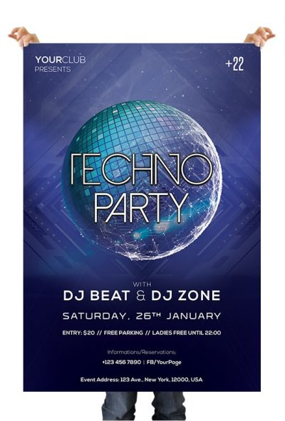 Techno Party Free PSD Flyer Template