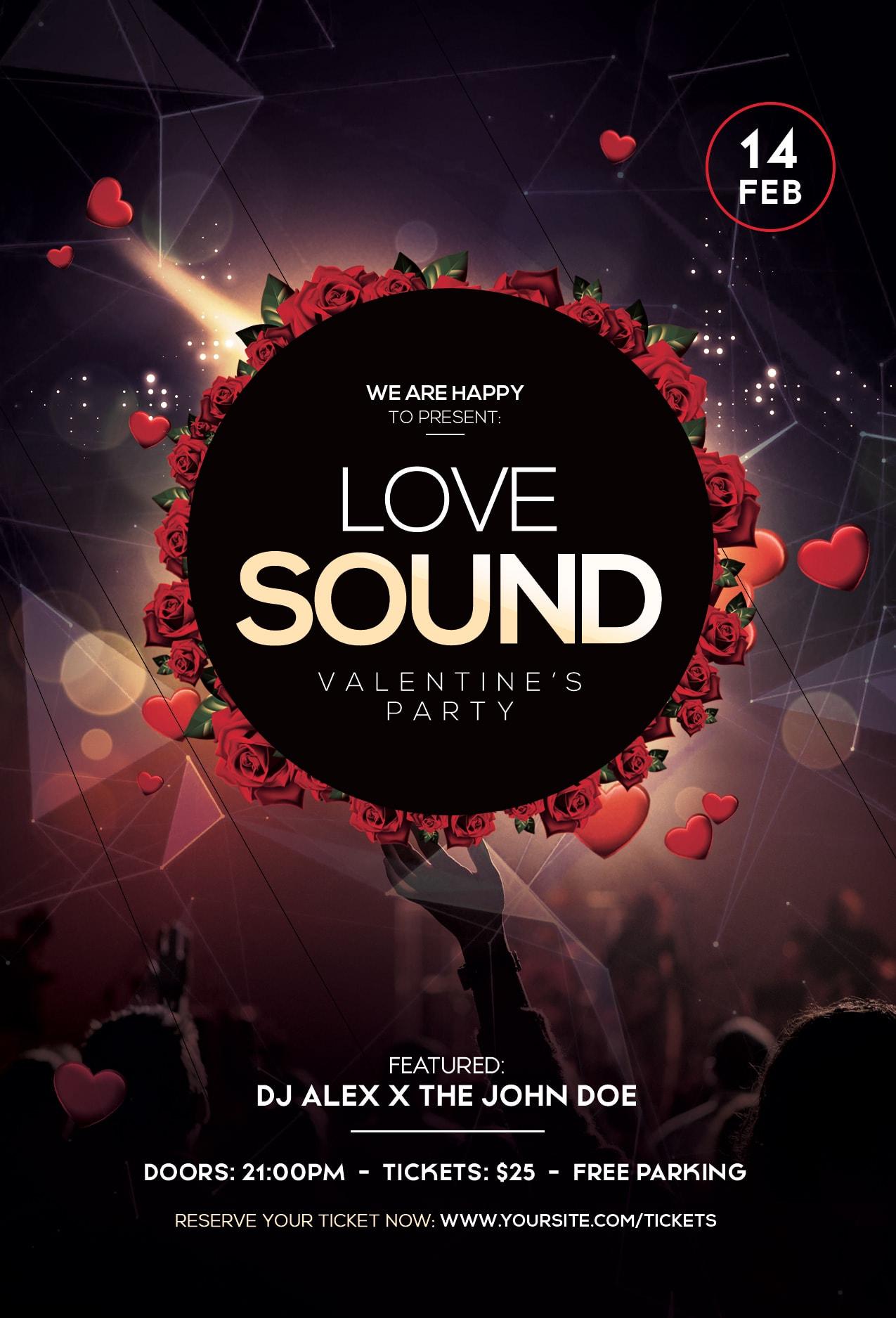 Love Sound – Valentine's Free PSD Flyer Template