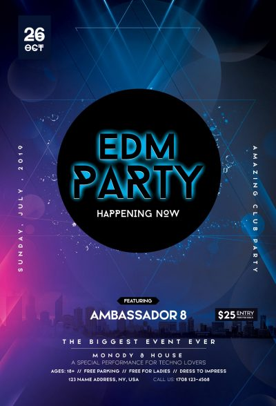 EDM Party Club Free PSD Flyer Template