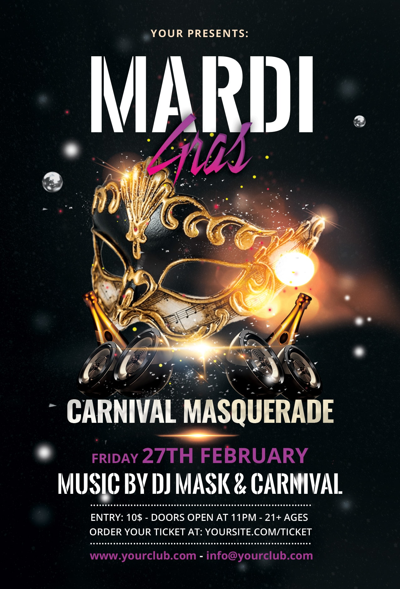 Mardi Gras Carnival #2 Free PSD Flyer Template