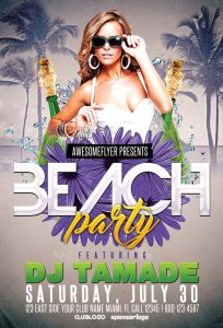 Summer Beach Club Party Free PSD Flyer Template