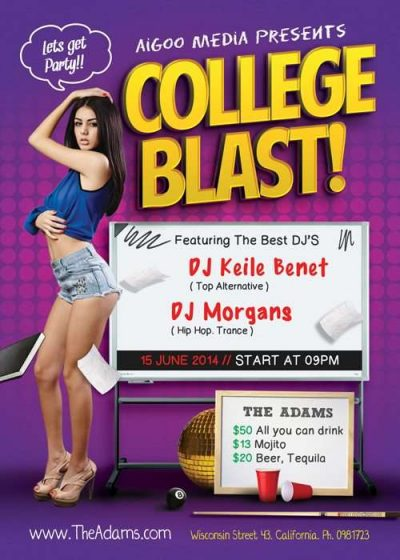 College Blast Free PSD Flyer Template