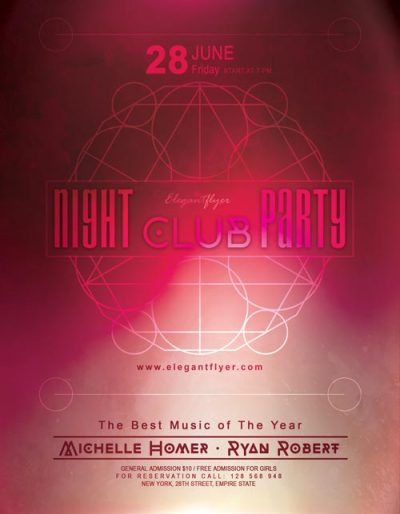 Night Club Party Free PSD Flyer Template