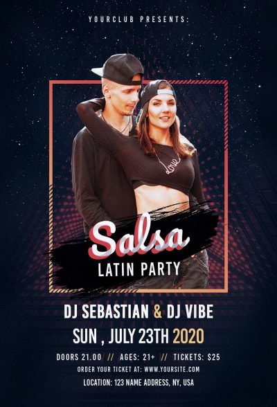 Salsa Latin Party Free PSD Flyer Template