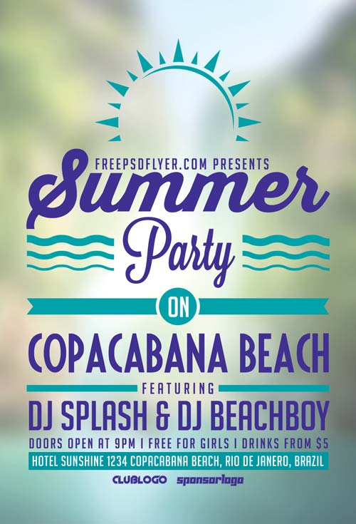 Summer Beach Party Free PSD Flyer Template