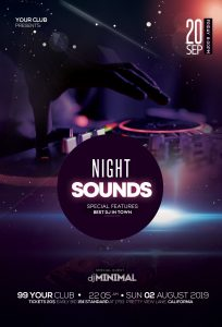 Night Sounds Free PSD Flyer Template
