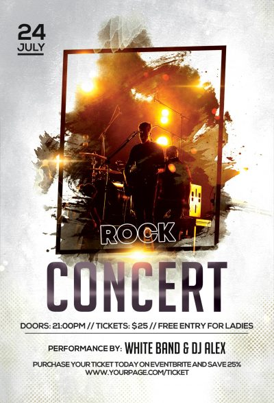 Rock Concert Free PSD Flyer Template