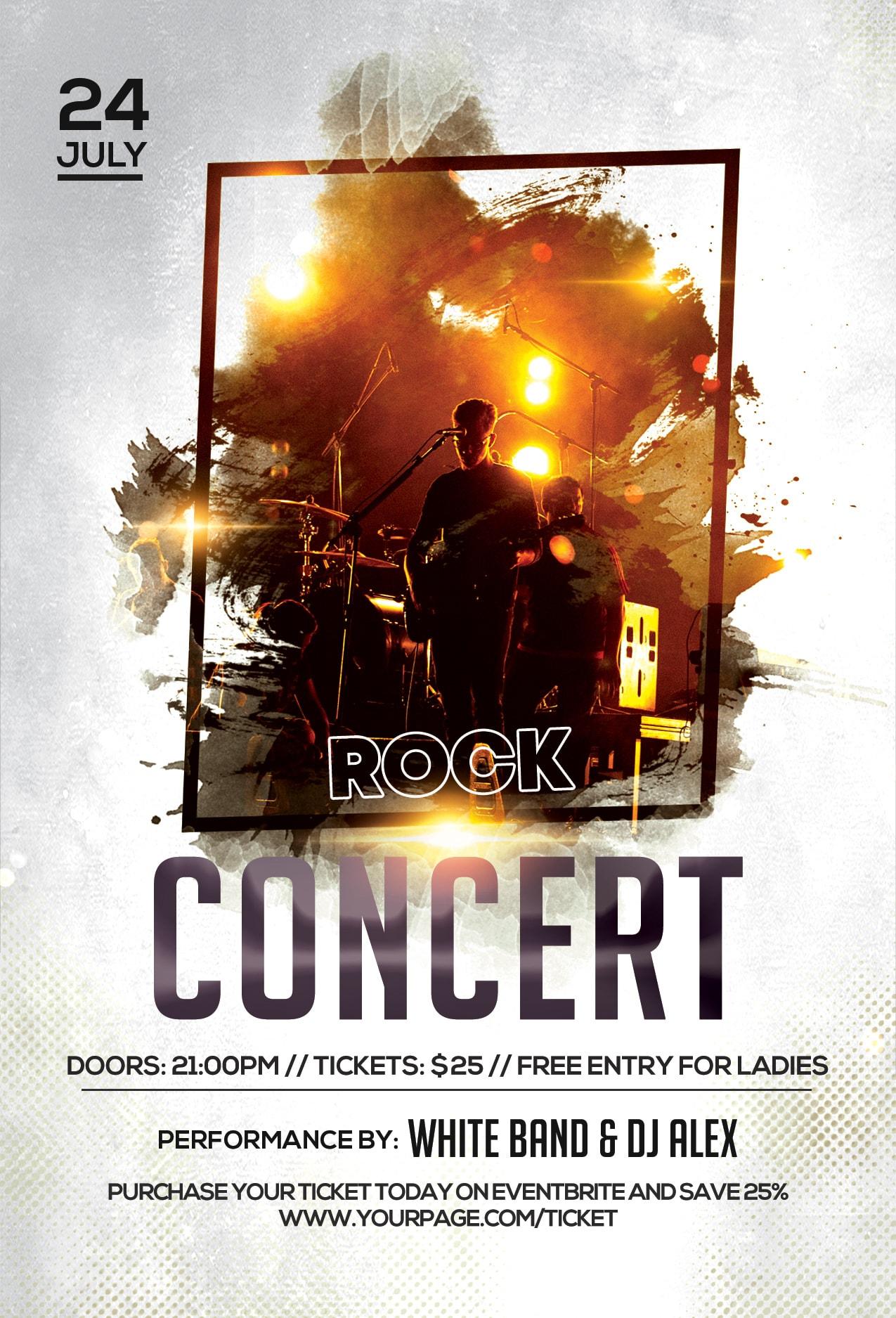 Rock Concert Free PSD Flyer Template