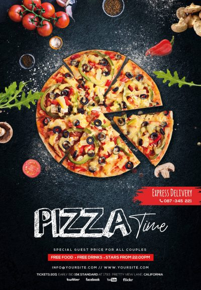 Pizza Restaurant Free PSD Flyer Template
