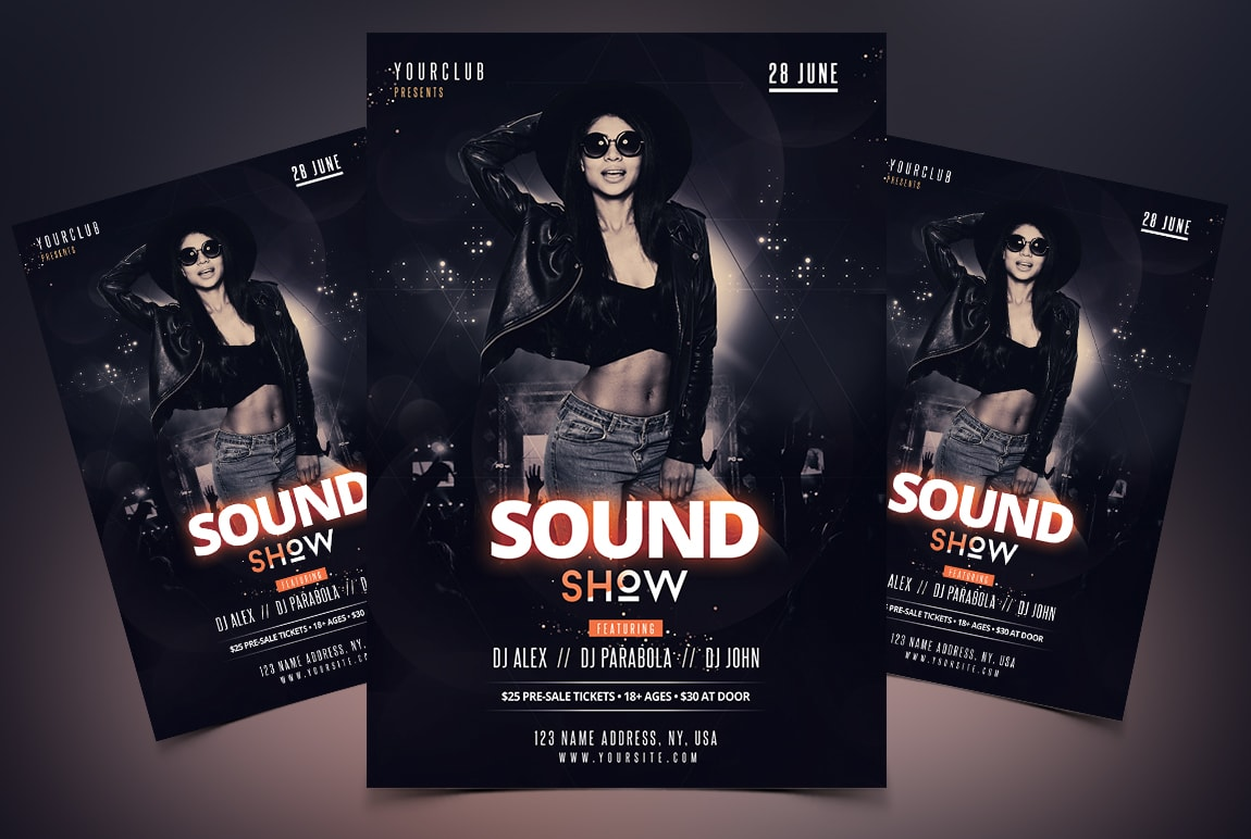 Sound Show Free Party PSD Flyer Template